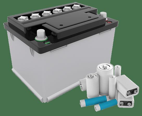 Ansammlung von Batterien und Akkumulatoren