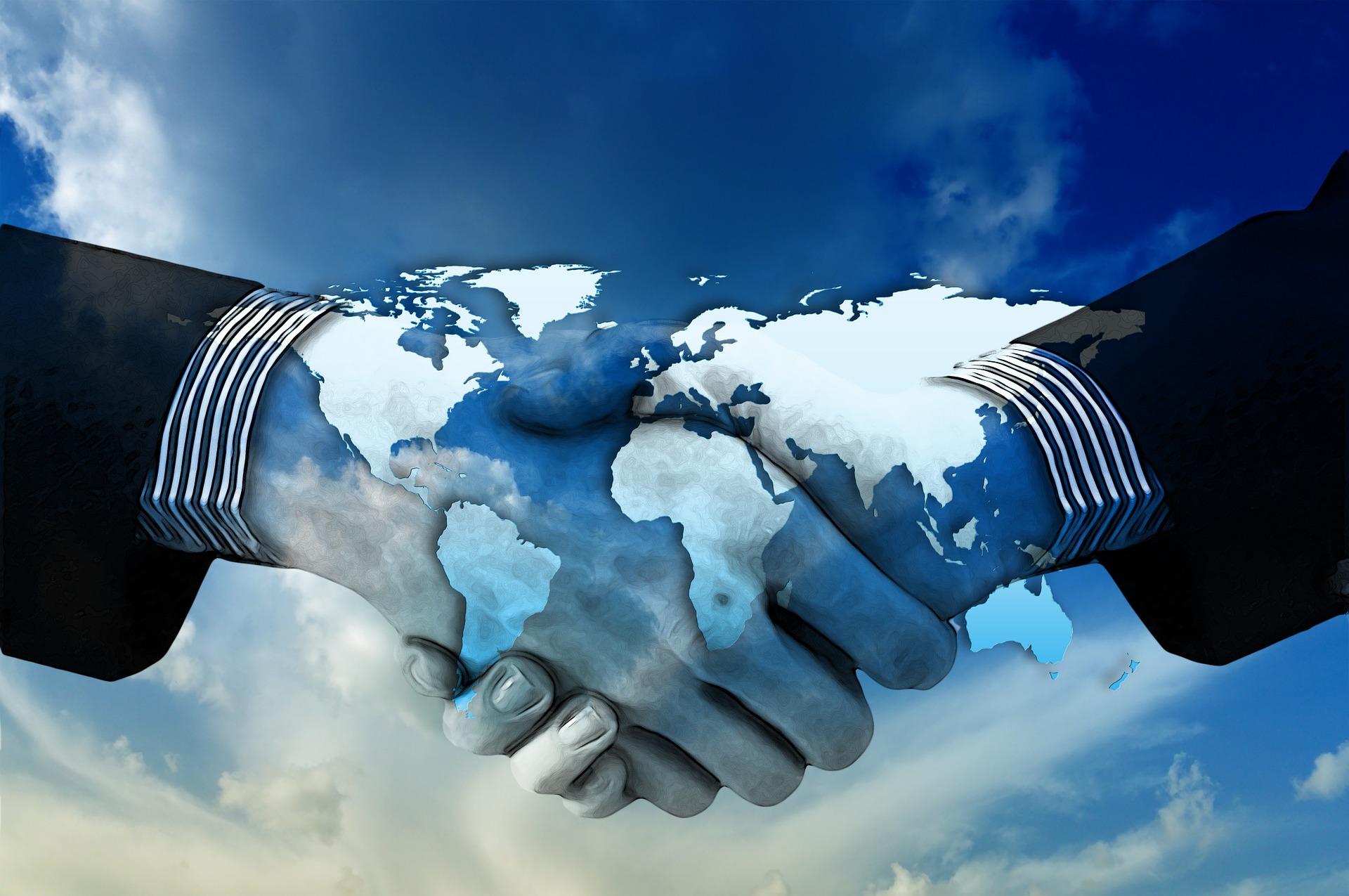 Hände schütteln, international