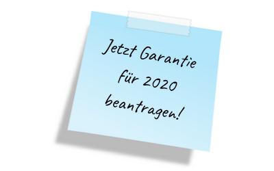 Jetzt Garantie für 2020 beantragen