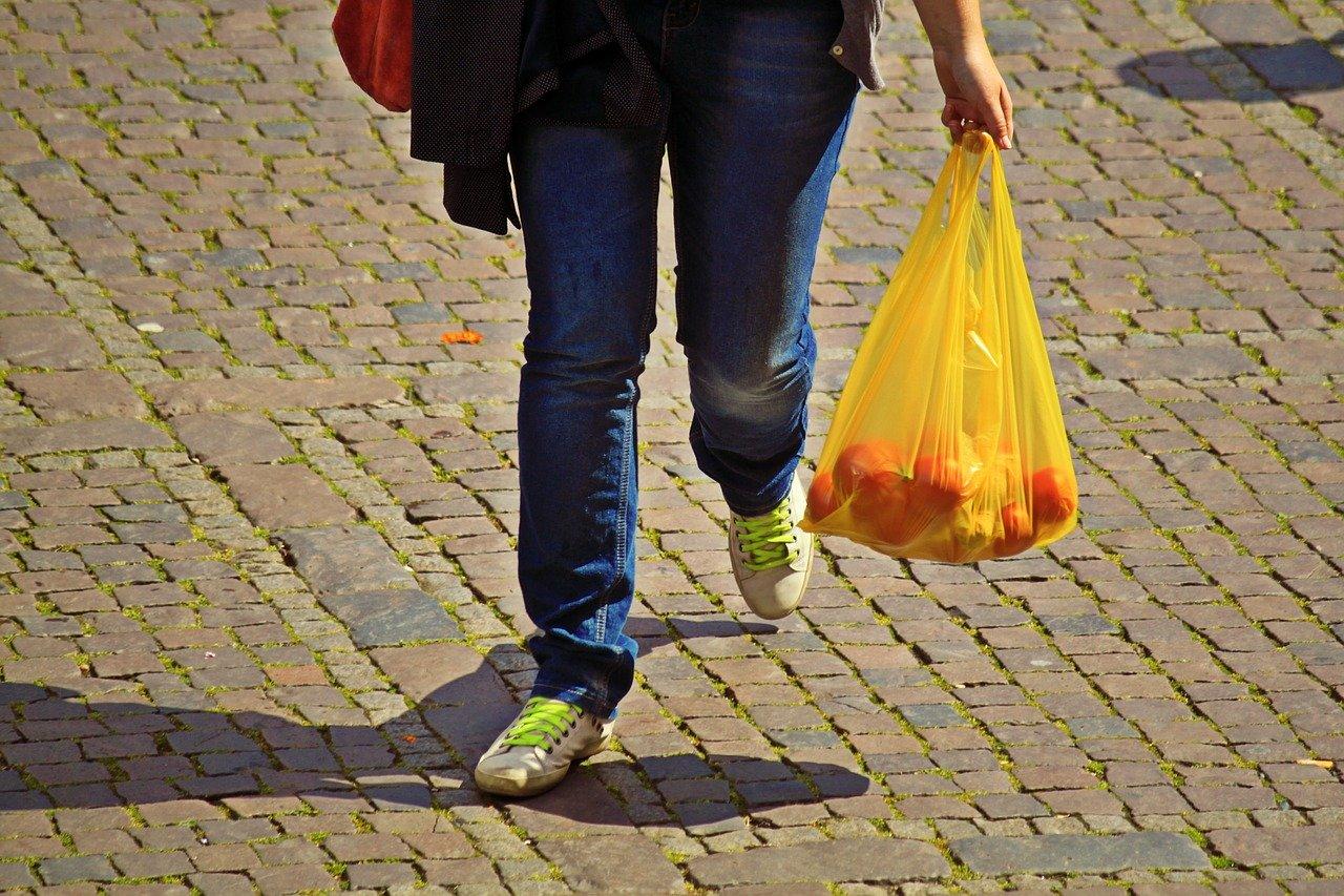 Person mit Kunststofftragetasche