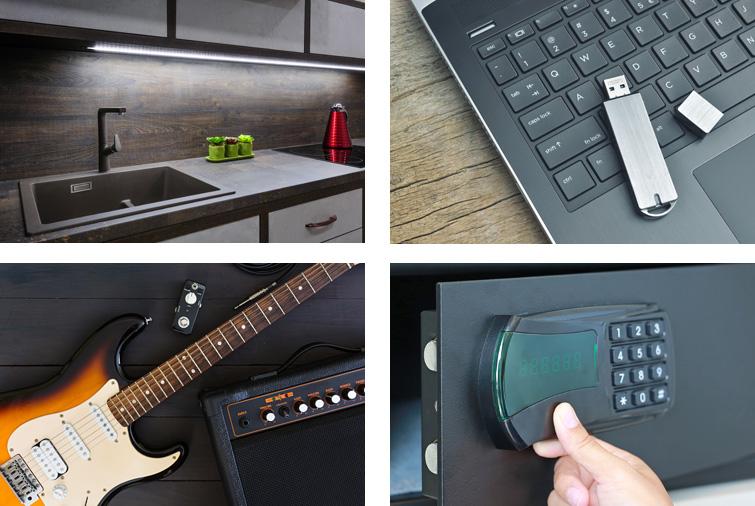 Beispiele für Elektrowaren: Beleuchtete Küchenzeile, USB-Stick und Laptop, E-Gitarre und Gitarren-Verstärker, Tresor mir elektronischem Schloss